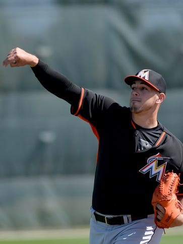 Jose Fernandez, throwing at Marlins training camp this