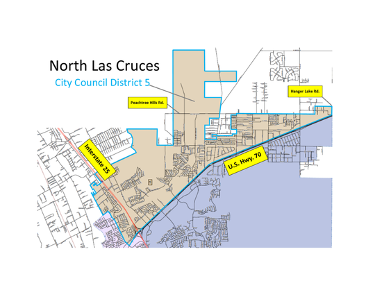 The boundaries of Las Cruces City Council District 5 are shown here.