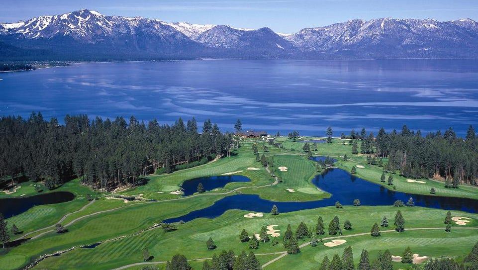 An overhead shot of Edgewood Tahoe Golf Course.