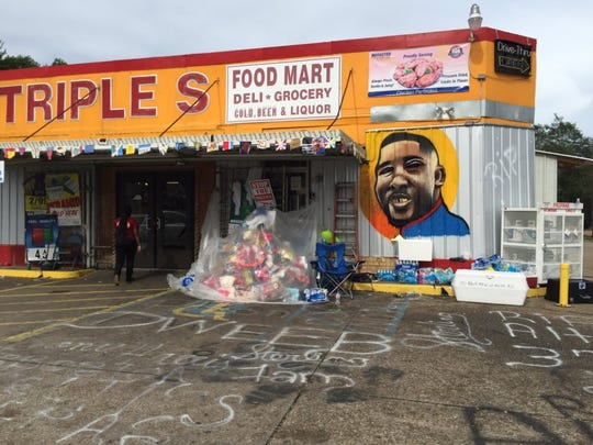 A memorial to Alton Sterling, who was killed by police
