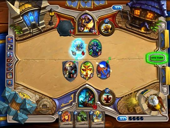 "A screenshot of a match in ""Hearthstone: Heroes of"