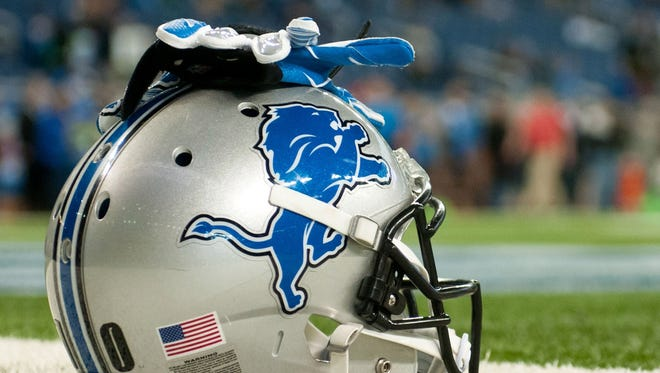 A Detroit Lions helmet at Ford Field.