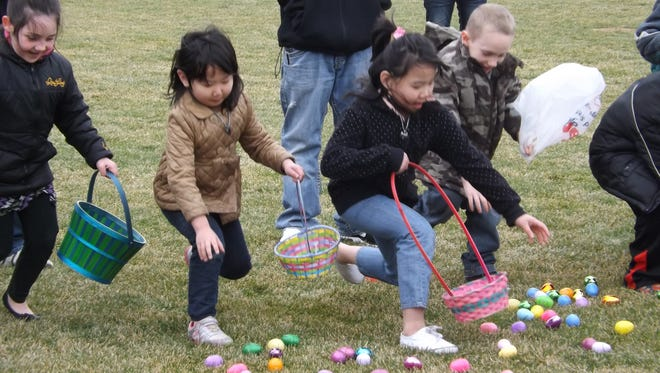 Kids dash to see who can get the most eggs in their basket during Richmond Parks and Recreation Department's annual hunt. This year's event takes place at the former Glen Miller Park golf course.