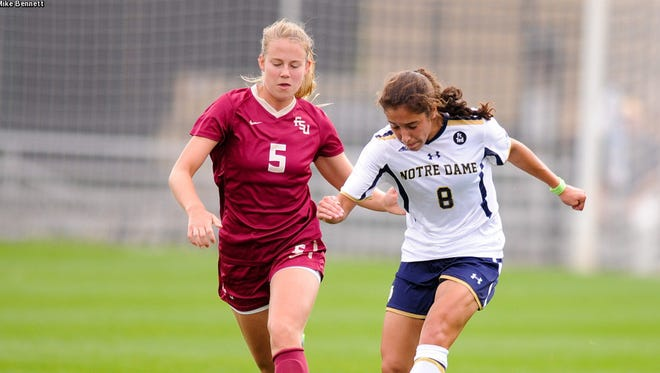 Elin Jensen battles a Notre Dame player for the ball during FSU's 1-0 win over the Fighting Irish.