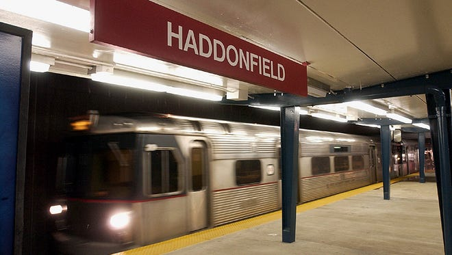 A PATCO Hi-Speedline train rolls through the Haddonfield Station