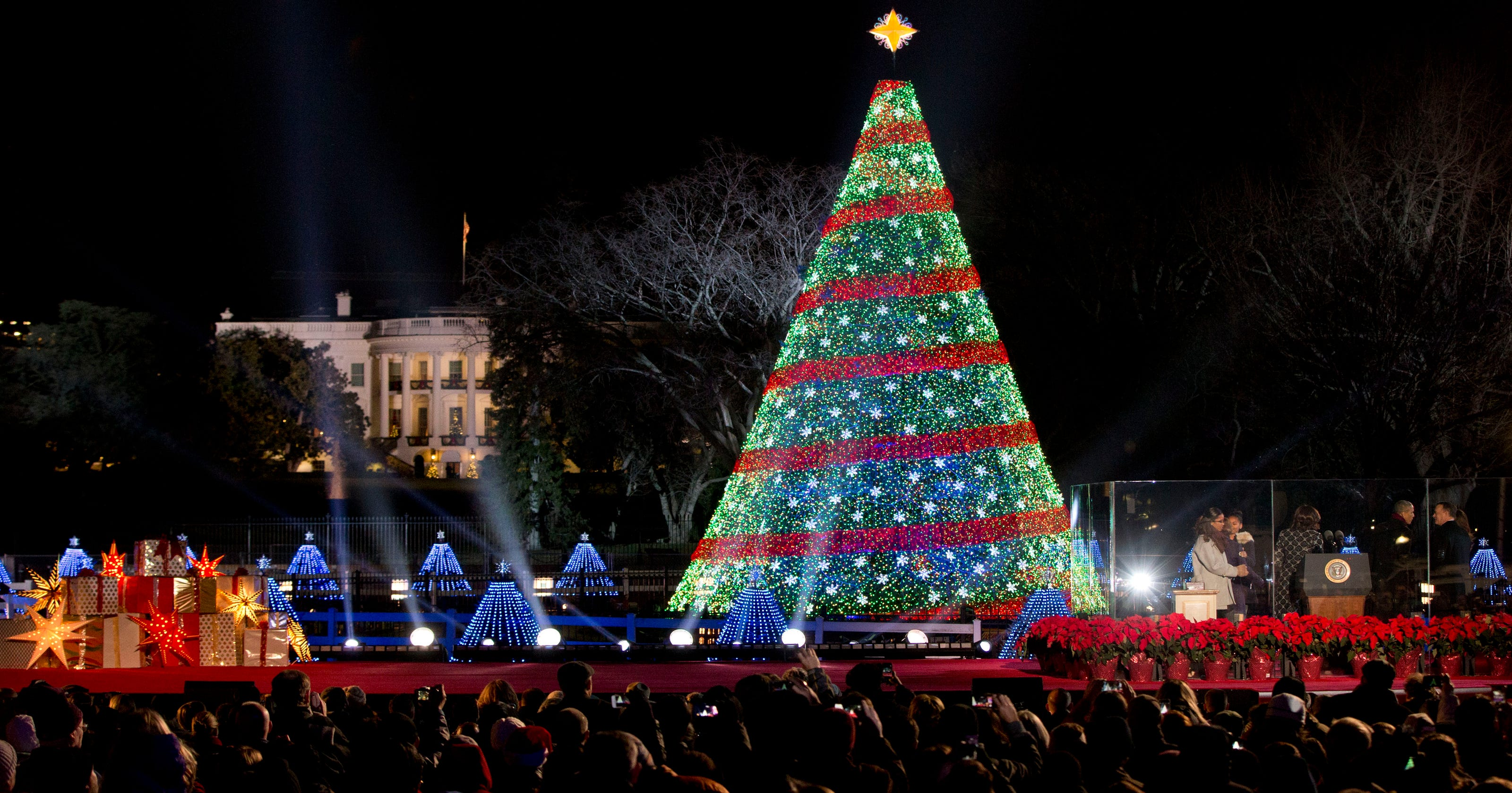 Obama And Family Light National Christmas Tree