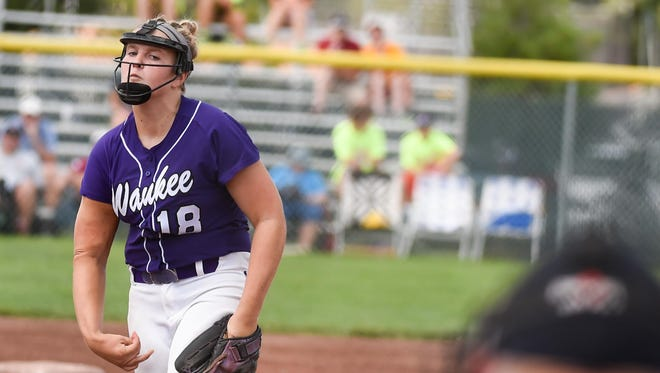 Waukee pitcher Sarah Schaefer throws a pitch against Valley on Thursday, July 23, 2015, during the Class 5-A Semifinals.