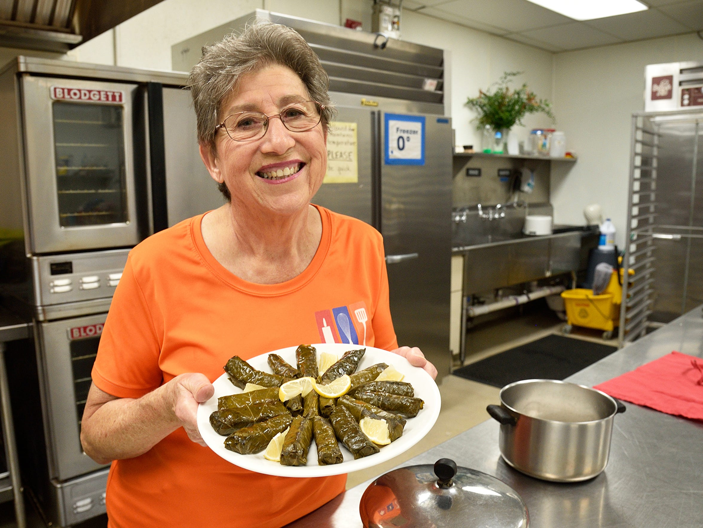 Barbara Hovsepian of the St. Leon Armenian Church in Fair Lawn shows off her Yalanchi in the kitchen of the church.