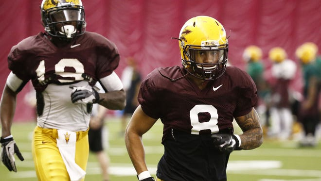 ASU wide receiver D.J. Foster at spring football practice on Thursday, April 2, 2015 in Tempe.