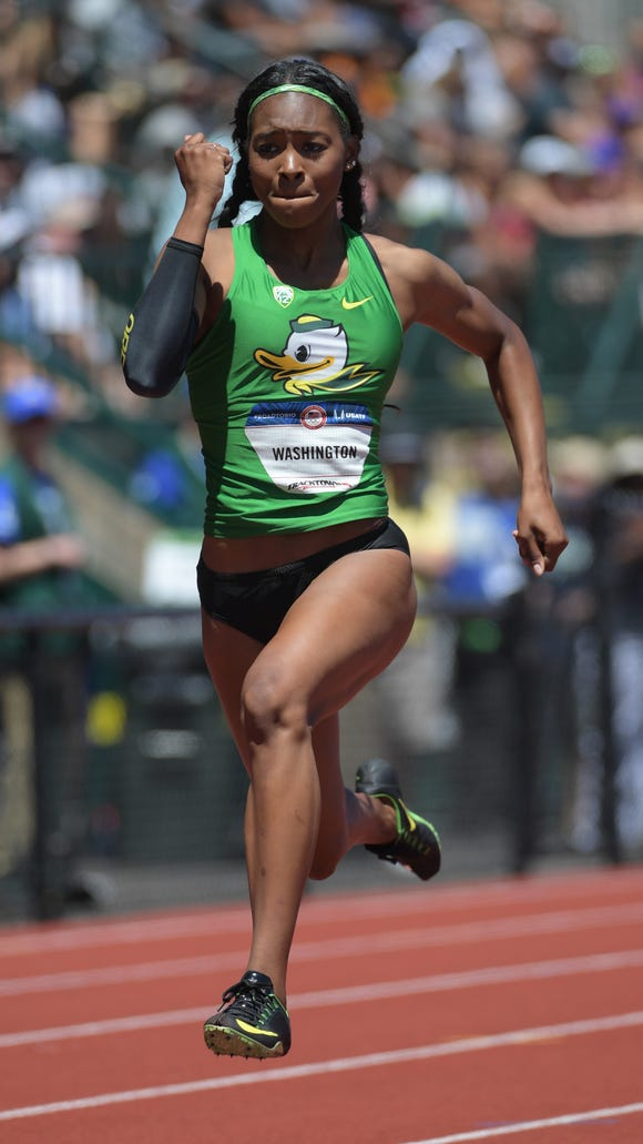 Jul 2, 2016; Eugene, OR, USA; Ariana Washington competes during the women's 100m first round heats in the 2016 U.S. Olympic track and field team trials at Hayward Field. Mandatory Credit: Kirby Lee-USA TODAY Sports
