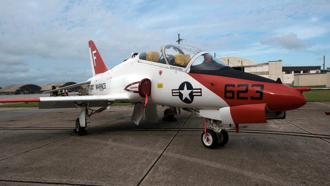 Navy officials describe their plan to return the T-45 Goshawk fleet to normal operations during a press conference June 29, 2017, at Pensacola Naval Air Station.