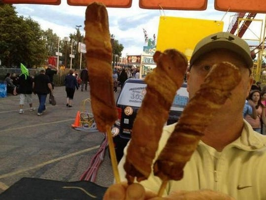 Double bacon corn dog.