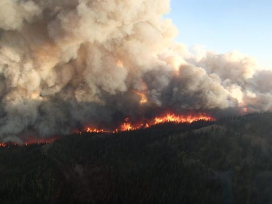 The Strawberry Fire on the ridge to Cap Mountain in the Bob Marshall wilderness on the Flathead National Forest this summer. The fire later burned into Helena-Lewis and Clark National Forest prompting closures. All areas closures in the forest have now been lifted.