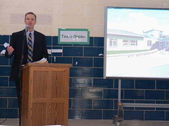 Cape Henlopen's Brian Bassett,  director of Administrative Services, talks about the new H.O Brittingham Elementary School, Thursday, March 23, 2017.