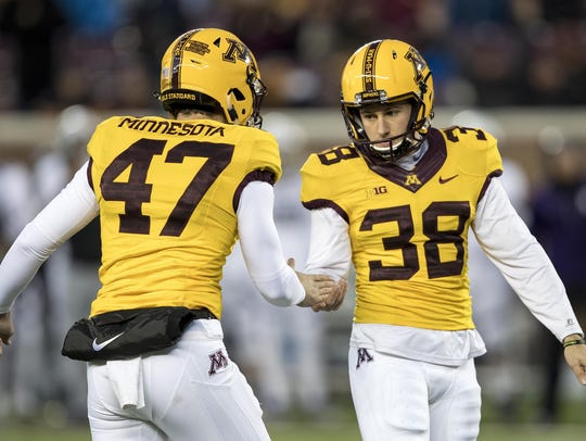 Minnesota kicker Emmit Carpenter.