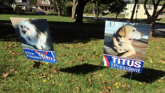 Titus and Trinity are running for, respectively, president and vice president along Kingman Boulevard in Des Moines.