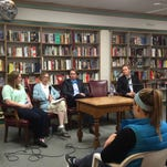 Panelists during an IowaWatch forum held at Prairie Lights Bookstore on Monday spoke about free speech and the first amendment. From left to right: Katelynn McCollough, Katherine Tachau, Patrick Bigsby and Todd Pettys.