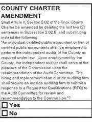 The text for the proposed Knox County Charter amendment.