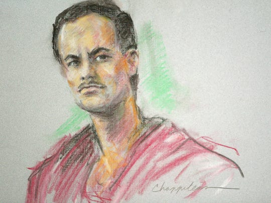 An artist's rendering shows Eric Rudolph in federal