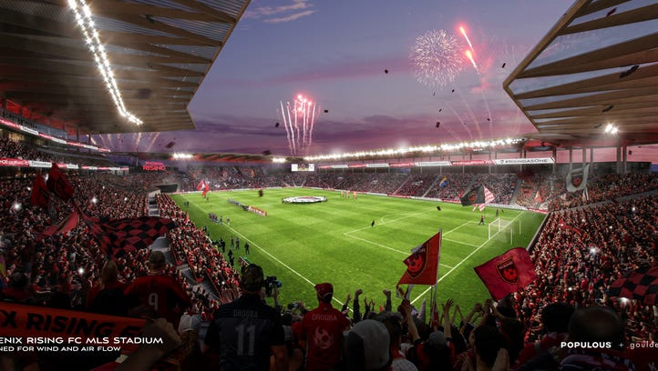 Rendering of the field-view for the possible MLS stadium