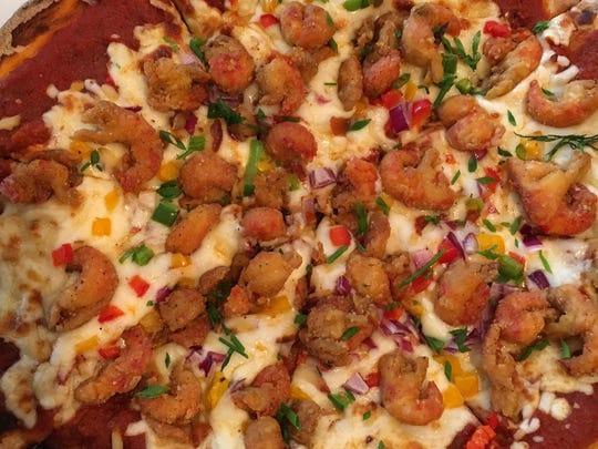 Fried crawfish pizza