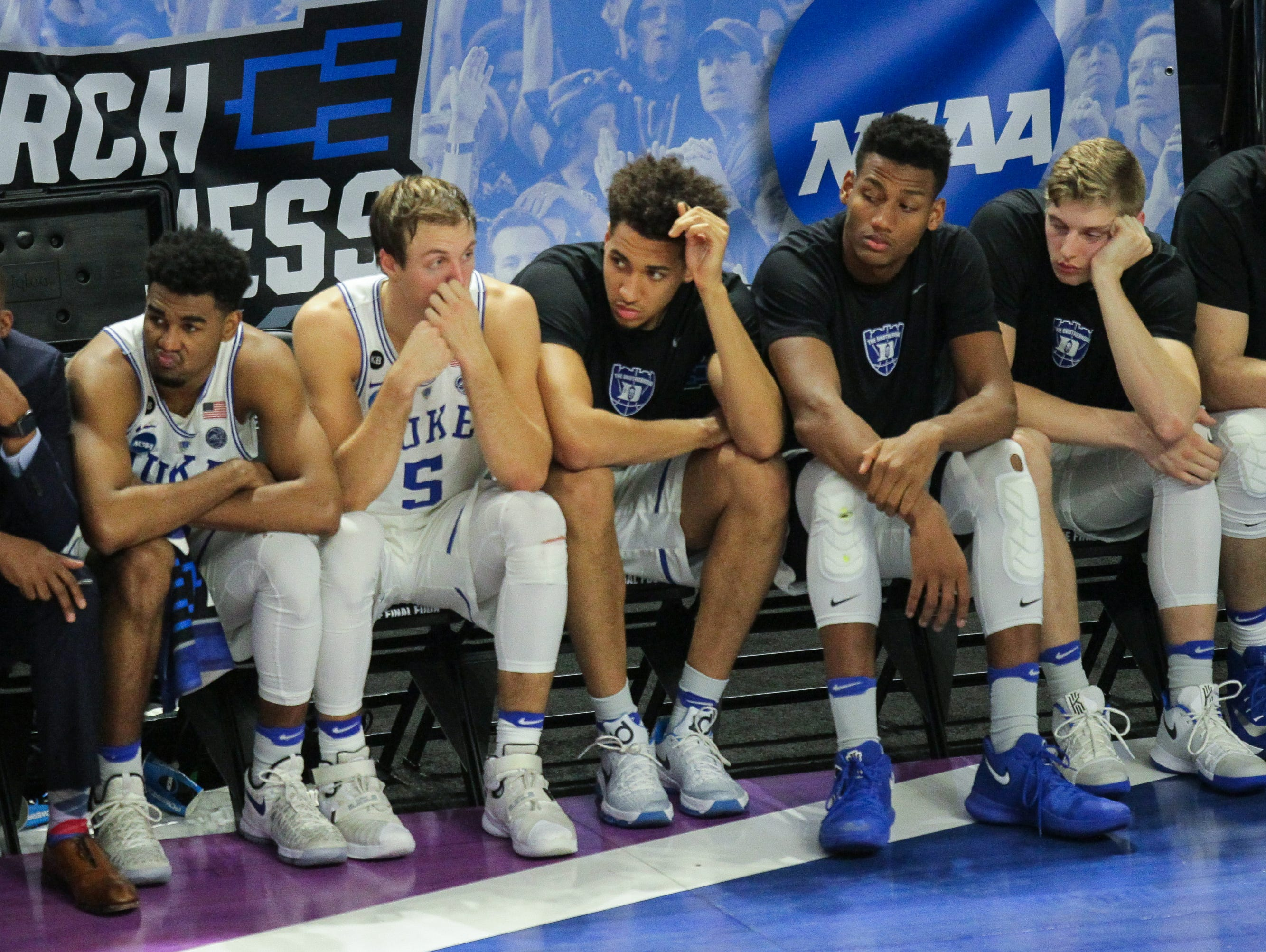 Duke reacts in the closing minute before losing 88-81 to South Carolina during the 2nd round of the NCAA Tournament at Bon Secours Wellness Arena in downtown Greenville on Sunday, March 19, 2017.