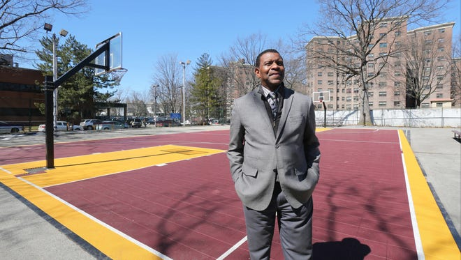 Lowes Moore, the executive director for development at the Boys and Girls Club of Mount Vernon, stands a the historic Fourth Street playground in the city of Mount Vernon, March 22, 2017.