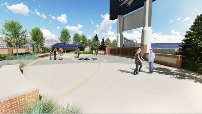 Conceptual design for the Donald L. Jensen Plaza that Nevada is aiming to complete before the 2017 season opener at Mackay Stadium.