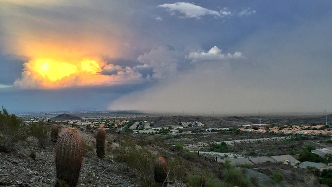 Dust storm closing in on Chandler as seen from Ahwatukee Foothills.