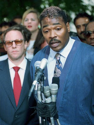 Rodney King pleads May 1, 1992, for an end to rioting.