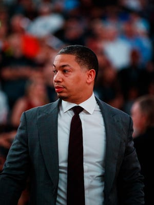 Cleveland Cavaliers head coach Tyronn Lue against the Phoenix Suns at Talking Stick Resort Arena.
