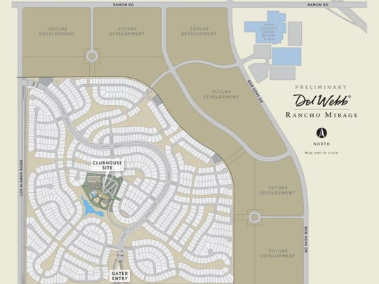 A site plan for Del Webb's development in Rancho Mirage. Homes are slated to begin selling in early 2018.