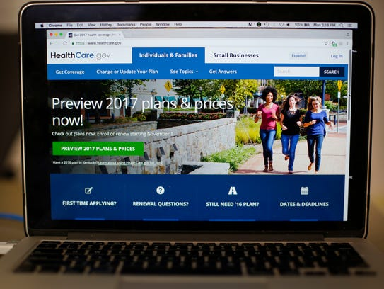The HealthCare.gov 2017 web site home page is seen