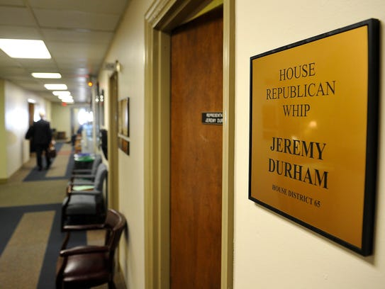 The door to Rep. Jeremy Durham's office is ajar but