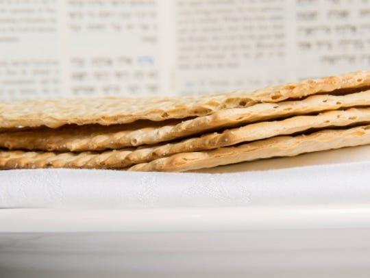 Matzah on a plate.
