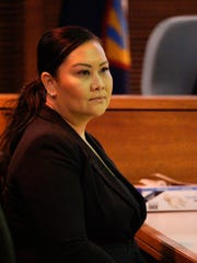 Anisia Delia takes the witness stand in the Mark Torre Jr. murder trial at the Superior Court of Guam on Feb. 15, 2017. Delia said Elbert Piolo confided in her that he wanted a divorce.