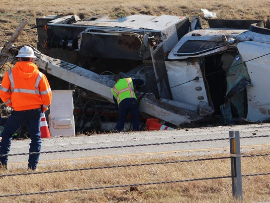 A truck overturned on westbound Interstate 20 on Friday