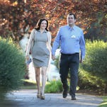 Sheryl Sandberg, chief operating officer (COO) of Facebook, and her husband David Goldberg, CEO of SurveyMonkey, attend the Allen & Company Sun Valley Conference on July 9, 2014 in Sun Valley, Idaho.