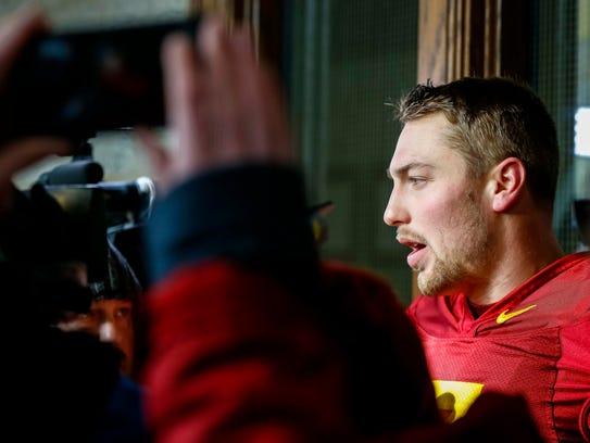 Iowa State's Joel Lanning talks to media after practice