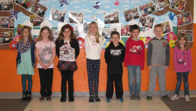 Second-graders named Students of the Month for April at Janvier School in Franklin are: (from left) Sienna Lettieri, Alycia Smith, Aubri O'Donnell, Caitlyn Seiler, Ryan Conner, Jacob Caccese, Joshua Seiler and Devyn Hess.