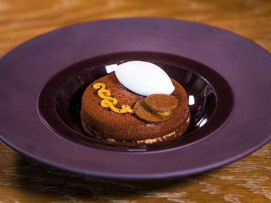 The mesquite tart from Weft and Warp Art Bar at Andaz Scottsdale Resort and Spa.