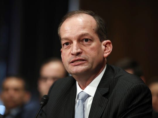 In this March 22, 2017, file photo, then-Labor secretary-designate