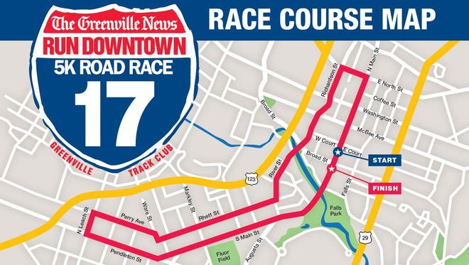 Race course map for the 2017 Run Downtown 5k Road Race