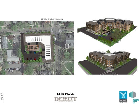 Rendering of the Dewitt Senior Apartments proposal at the old Tompkins County Library property.