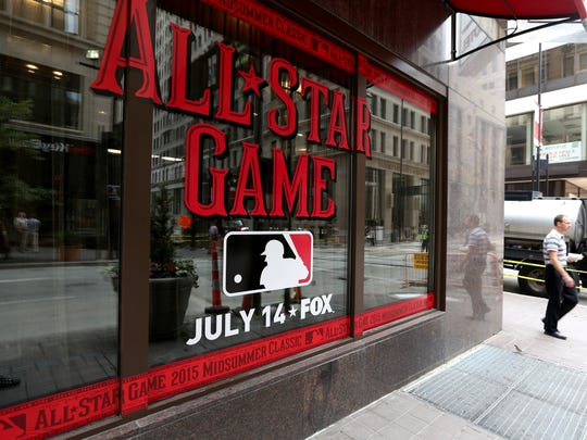 The MLB All-Star Game logo decorates the Renaissance
