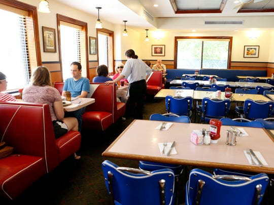Customers lunch at Dobbs Diner in Dobbs Ferry on Monday.