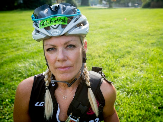 Cyclist Heather Wince was struck by an impaired driver who fled the scene along Ingersoll Ave. in Des Moines, Iowa, Tuesday, Sept. 1, 2015. She says it isn't safe for her children to ride on and she continue to be as vigilant as she possible while commuting by bicycle.