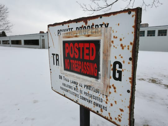 "This file photo from January 2016 shows one of several ""No Trespassing"" signs on the former Paragon Electric property in Two Rivers. File/USA TODAY NETWORK-Wisconsin"