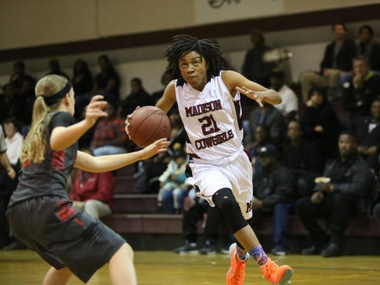 Madison County's Jameica Cobb scoreed 14 points in a win over Lafayette on Tuesday night in a Region 2-1A final.