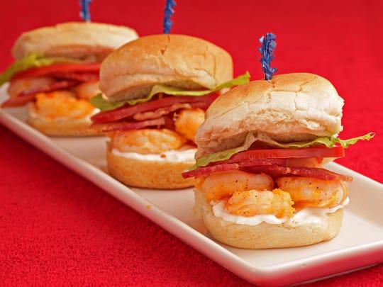 Miniature shrimp BLTs.